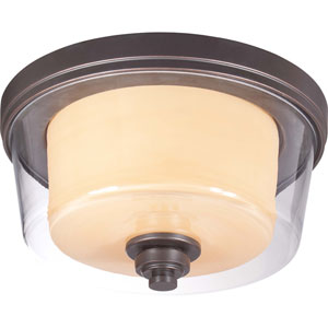 Decker Sudbury Bronze Two-Light Medium Flush Fixture w/Clear & Cream Glass