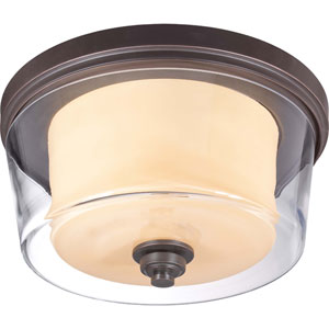 Decker Sudbury Bronze Three-Light Large Flush Fixture w/Clear & Cream Glass