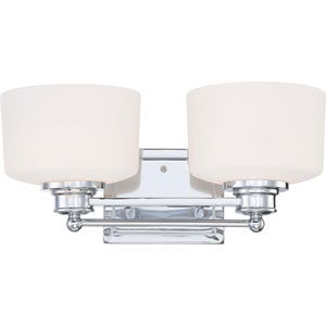 Soho Polished Chrome Two-Light Vanity Fixture w/Satin White Glass