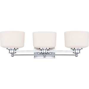 Soho Polished Chrome Three-Light Vanity Fixture w/Satin White Glass