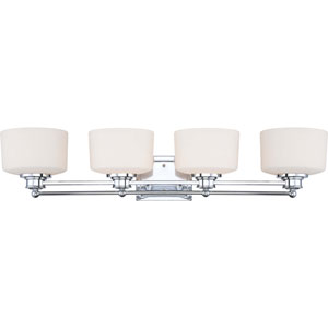 Soho Polished Chrome Four-Light Vanity Fixture w/Satin White Glass