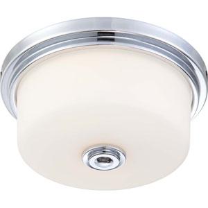 Soho Polished Chrome Two-Light Medium Flush Fixture w/Satin White Glass