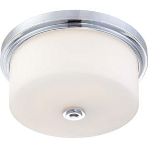 Soho Polished Chrome Three-Light Large Flush Fixture w/Satin White Glass