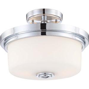 Soho Polished Chrome Two-Light Semi Flush Fixture w/Satin White Glass