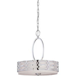 Harlow Polished  Nickel Three-Light Pendant w/Slate Gray Fabric Shade