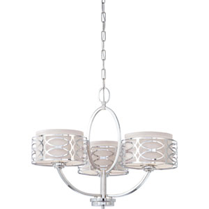 Harlow Polished  Nickel Three-Light Chandelier w/Slate Gray Fabric Shades