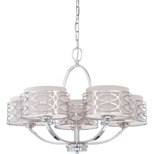 Harlow Polished  Nickel Five-Light Chandelier w/Slate Gray Fabric Shades