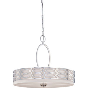 Harlow Polished  Nickel Four-Light Pendant w/Slate Gray Fabric Shade
