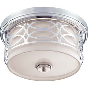 Harlow Polished  Nickel Two-Light Flush Dome Fixture w/Slate Gray Fabric Shade