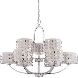 Harlow Polished  Nickel Nine-Light Chandelier w/Slate Gray Fabric Shades