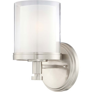 Decker Brushed Nickel Vanity Fixture w/Clear & Frosted Glass