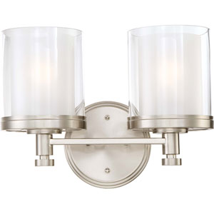 Decker Brushed Nickel Two-Light Vanity Fixture w/Clear & Frosted Glass