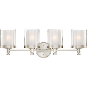 Decker Brushed Nickel Four-Light Vanity Fixture w/Clear & Frosted Glass