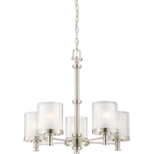 Decker Brushed Nickel Five-Light Chandelier w/Clear & Frosted Glass