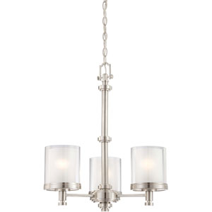 Decker Brushed Nickel Three-Light Chandelier w/Clear & Frosted Glass