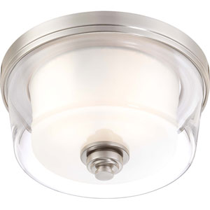 Decker Brushed Nickel Two-Light Medium Flush Fixture w/Clear & Frosted Glass