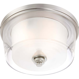 Decker Brushed Nickel Three-Light Large Flush Fixture w/Clear & Frosted Glass