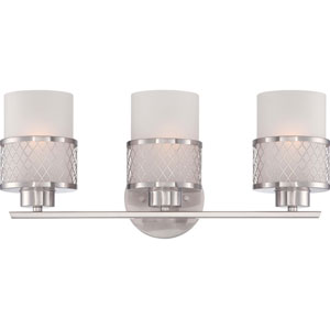Fusion Brushed Nickel Three-Light Vanity Fixture w/Frosted Glass