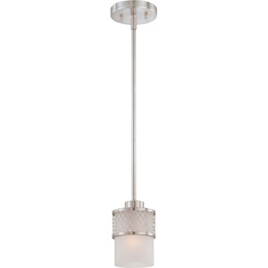 Fusion Brushed Nickel Mini Pendant w/Frosted Glass