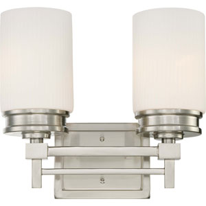 Wright Brushed Nickel Two-Light Vanity Fixture w/Satin White Glass