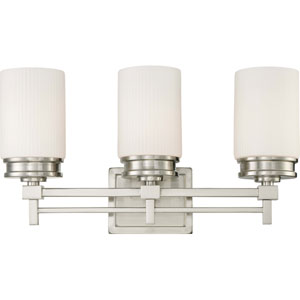 Wright Brushed Nickel Three-Light Vanity Fixture w/Satin White Glass
