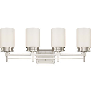 Wright Brushed Nickel Four-Light Vanity Fixture w/Satin White Glass