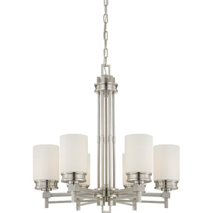 Wright Brushed Nickel Six-Light Chandelier w/Satin White Glass