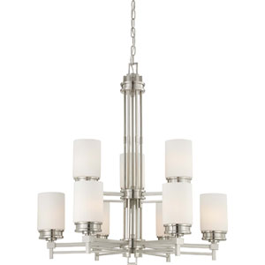 Wright Brushed Nickel Nine-Light Chandelier w/Satin White Glass