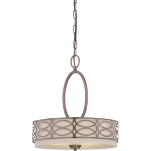 Harlow Hazel Bronze Three-Light Pendant w/Khaki Fabric Shades