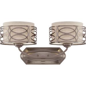 Harlow Hazel Bronze Two-Light Vanity Fixture w/Khaki Fabric Shades