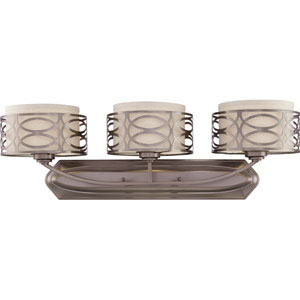 Harlow Hazel Bronze Three-Light Vanity Fixture w/Khaki Fabric Shades