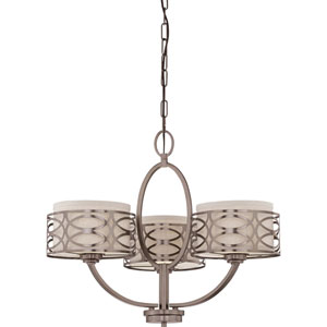 Harlow Hazel Bronze Three-Light Chandelier w/Khaki Fabric Shades