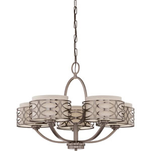 Harlow Hazel Bronze Five-Light Chandelier w/Khaki Fabric Shades