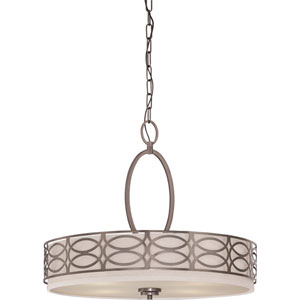 Harlow Hazel Bronze Four-Light Pendant w/Khaki Fabric Shade