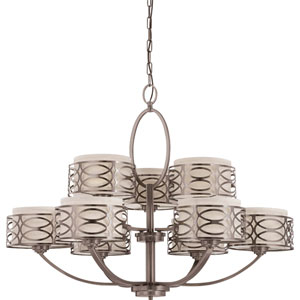 Harlow Hazel Bronze Nine-Light Chandelier w/Khaki Fabric Shades