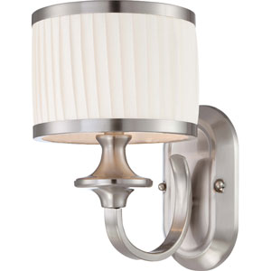 Candice Brushed Nickel Vanity Fixture w/Pleated White Shade