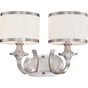 Candice Brushed Nickel Two-Light Vanity Fixture w/Pleated White Shades
