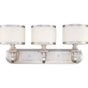 Candice Brushed Nickel Three-Light Vanity Fixture w/Pleated White Shades