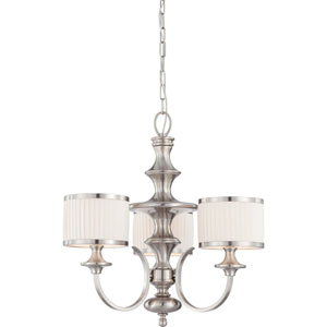 Candice Brushed Nickel Three-Light Chandelier w/Pleated White Shades