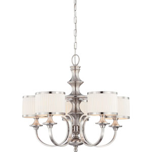 Candice Brushed Nickel Five-Light Chandelier w/Pleated White Shades
