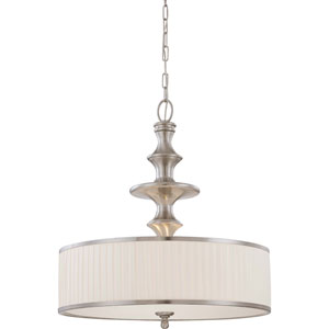 Candice Brushed Nickel Three-Light Pendant w/Pleated White Shade