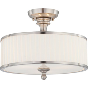 Candice Brushed Nickel Three-Light Semi Flush Fixture w/Pleated White Shade