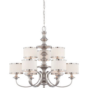 Candice Brushed Nickel Nine-Light Chandelier w/Pleated White Shades