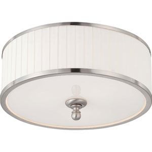 Candice Brushed Nickel Three-Light Flush Dome Fixture w/Pleated White Shade