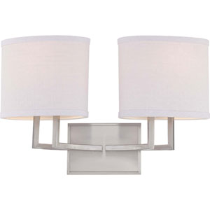Gemini Brushed Nickel Two-Light Vanity Fixture w/Slate Gray Fabric Shades