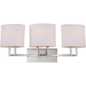 Gemini Brushed Nickel Three-Light Vanity Fixture w/Slate Gray Fabric Shades