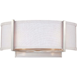 Gemini Brushed Nickel Two-Light Wall Sconce w/Slate Gray Fabric Shade