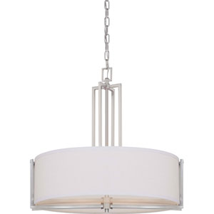 Gemini Brushed Nickel Four-Light Pendant w/Slate Gray Fabric Shade