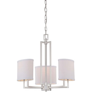 Gemini Brushed Nickel Three-Light Chandelier w/Slate Gray Fabric Shades