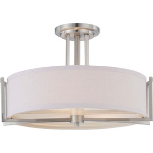Gemini Brushed Nickel Three-Light Semi Flush Fixture w/Slate Gray Fabric Shade